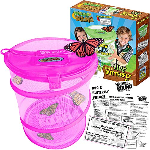 Nature Bound Butterfly Growing Habitat Kit - with Voucher to Redeem Live Caterpillars for Home or School Use - Pink Pop-Up Cage 12-Inches Tall