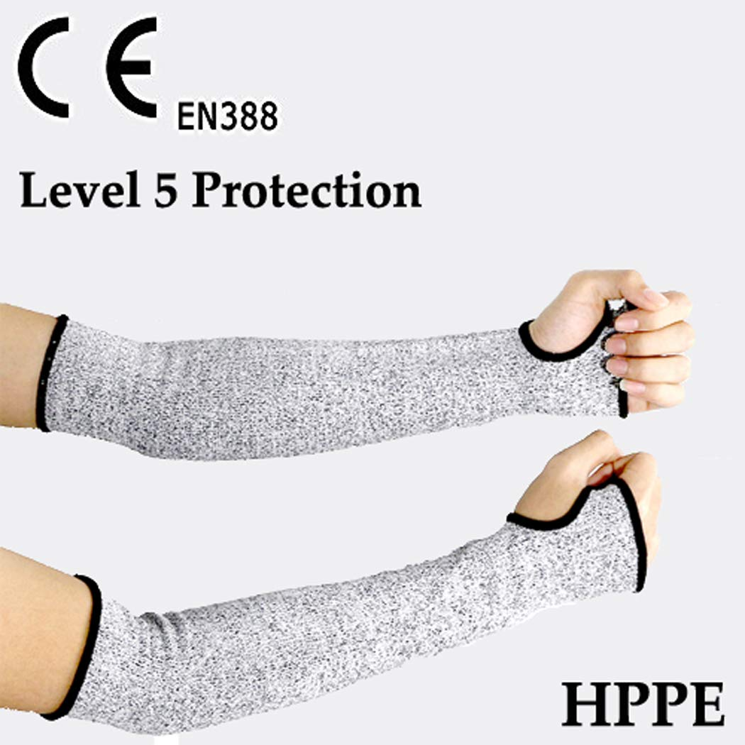 Cut Resistant Sleeves for Work, CE EN388 Level 5 Protection, Anti Slash Safety Protective Arm Sleeves, Grey (1 Pair)