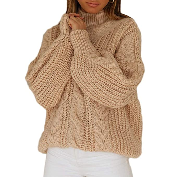 Huaxiafan Womens Knitted Loose Long Sleeve Sweater