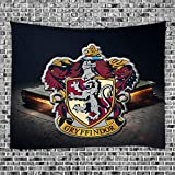 Harry Potter Tapestry Wall Hanging Hogwarts Magic School Magic Book Magic Badge Gryffindor - Polyester Fabric Wall Decor for Bedroom (GT12W, 60' x 51')