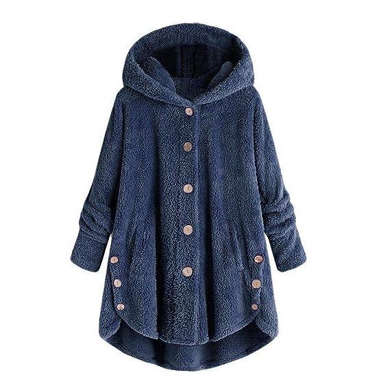 L-5XL Damen Oversize Warm Fleece Reißverschluss Plüschmantel Tops Mantel Coat DE