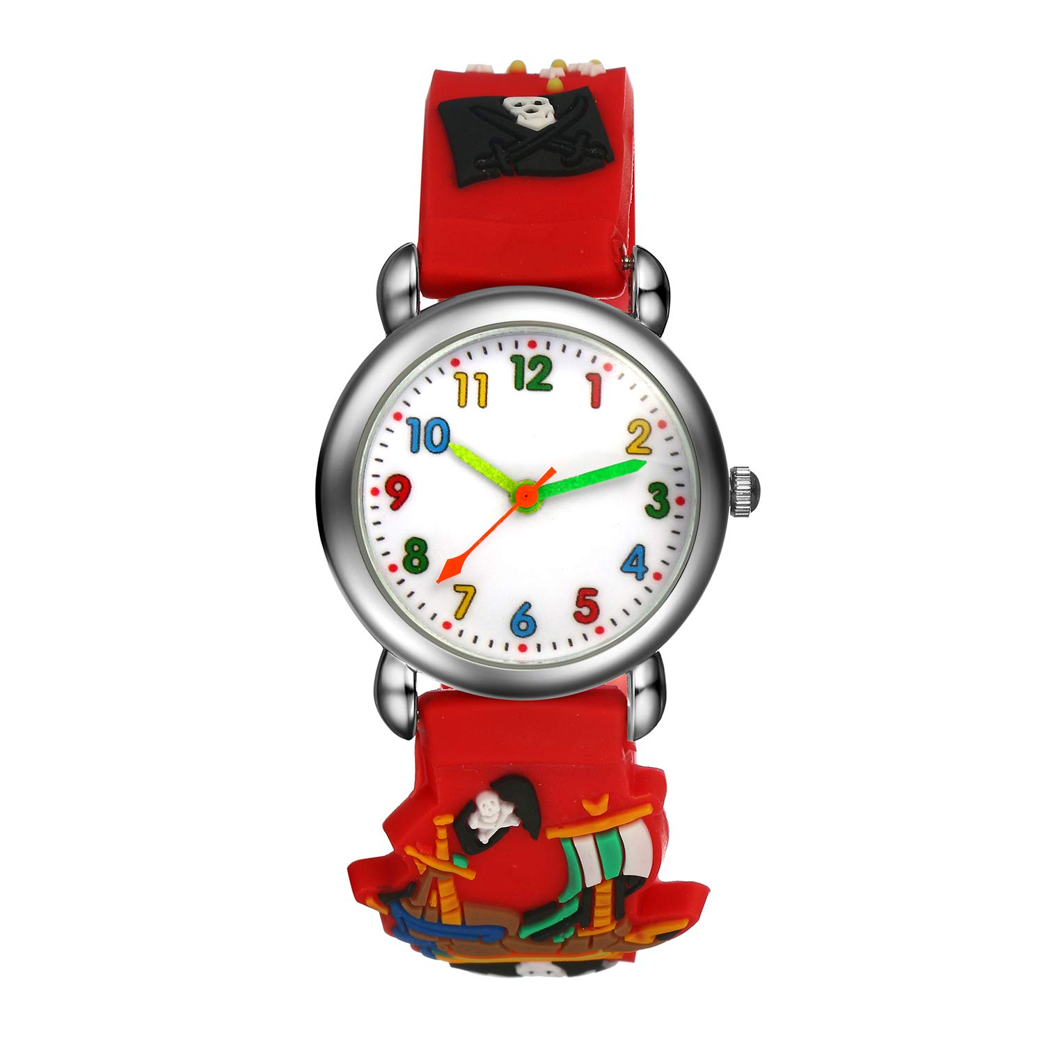 Kids Children Watch, Boys Cute Cartoon Pirate Treasure Pattern Colorful Comfortable Band Analog Quartz Wristwatches - Red
