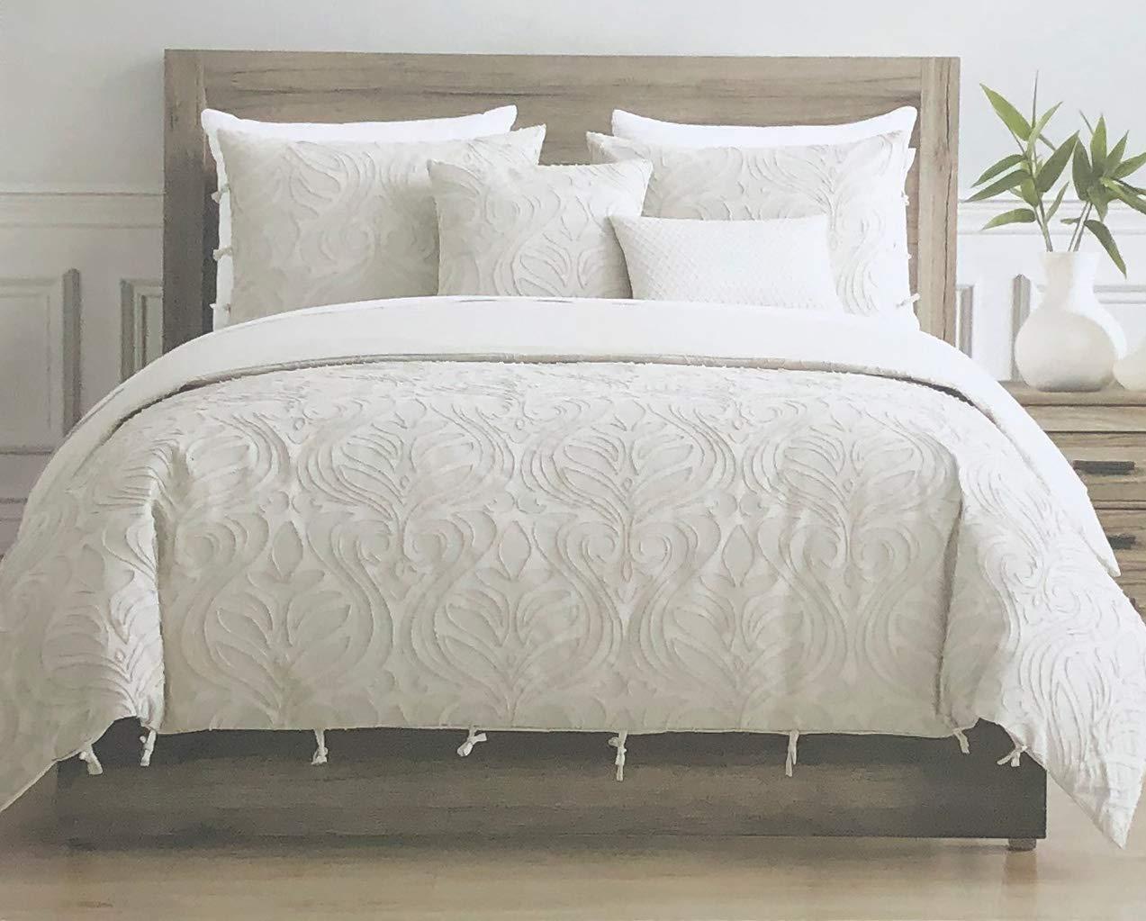 Tahari Home Maison 寝具 キングサイズ 高級 3ピース 掛け布団カバー セット 質感のある織物 コットンクリップ ジャカード モダン 抽象模様 ライトタン スレッドオン クリーム/ライトタン - ザハ、エクリュ B07LDVVFHX