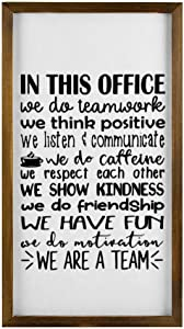 In This Office We Do Teamwork Framed Wood Sign, Motivational Quotes Wooden Wall Hanging Art, Inspirational Farmhouse Wall Plaque, Rustic Home Decor For Nursery, Porch, Gallery Wall, Housewarming Gift