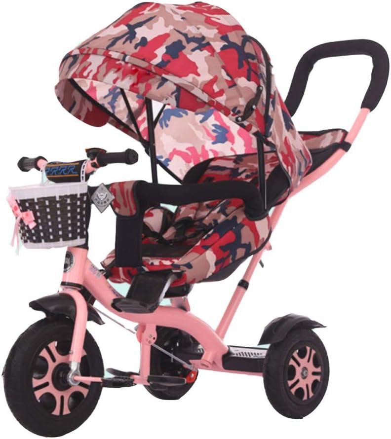 TH Triciclo para Niños Triciclo Baby Varilla De Empuje Desmontable, Asiento Giratorio, 1-5 Años 65-120cm