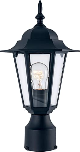 YaoKuem Outdoor Post Light, Pole Lantern, E26 Base 100W Max, Aluminum Housing Plus Glass, Wet Location Rated, Bulbs not Included Black