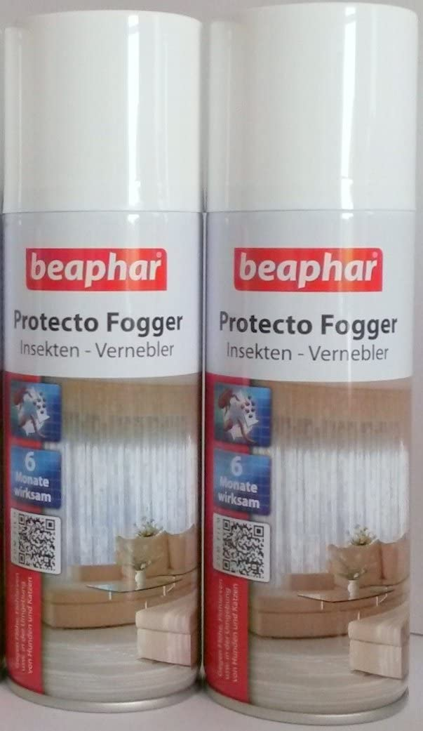 Juego de 2Beaphar Protecto foggers insectos Killing Flea bombas cada 200ml