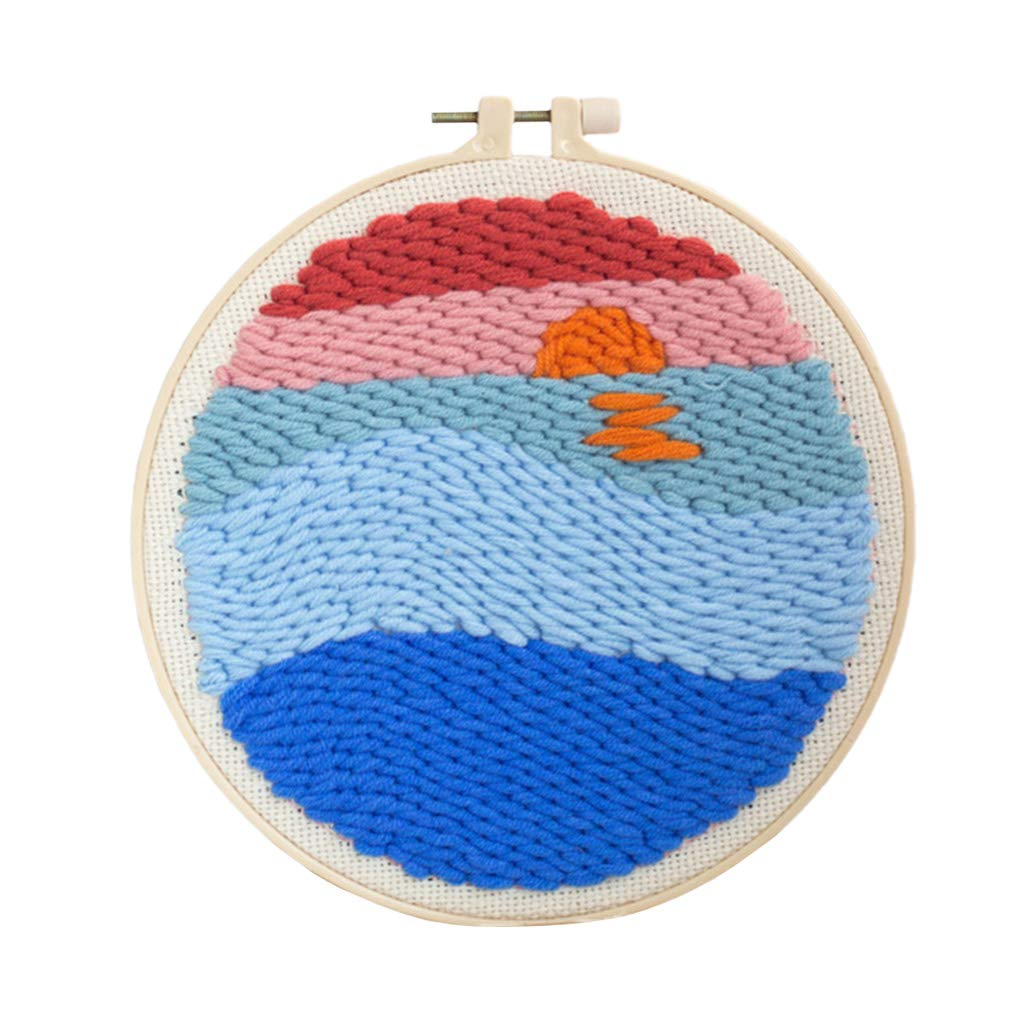 Rug Hooking Crafts Knitting Embroidery Kit Punch Needle Starter Kit with Punch Needle Colorful Yarn Lake LoveinDIY DIY Latch Hook Kits for Kids Beginner