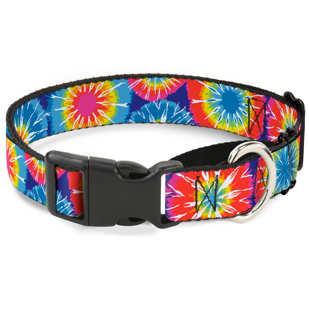 Buckle-Down 70'S Tie Dye Martingale Dog Collar, 1.5  Wide-Fits 18-32  Neck-Large