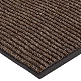 Durable Spectra-Rib Vinyl Backed Indoor Entrance Mat, 3' x 5', Brown