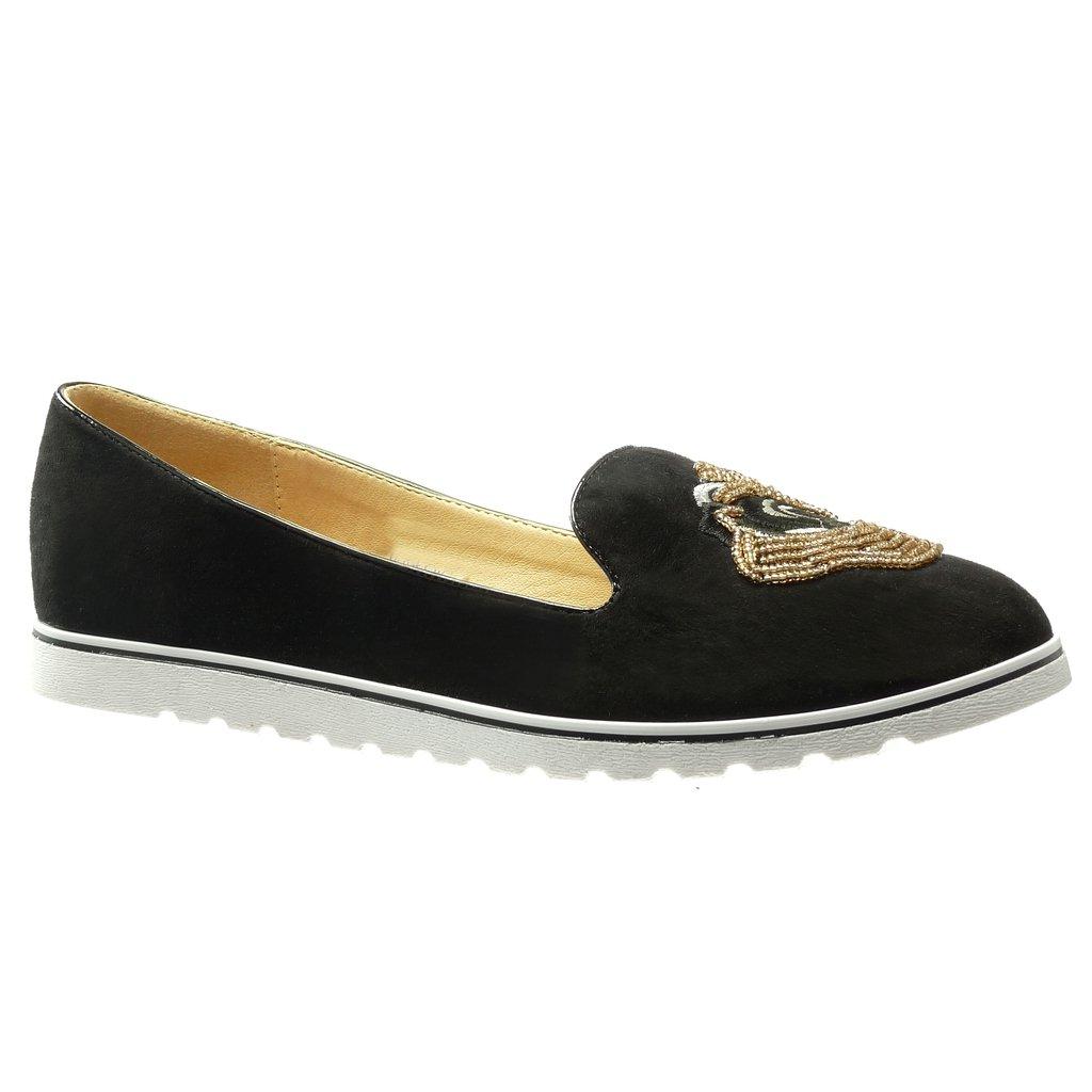 Angkorly Scarpe Moda Mocassini Slip-On Suola di Sneaker Donna Ricamo Gioielli Perla Tacco Zeppa Piattaforma 2 cmNero