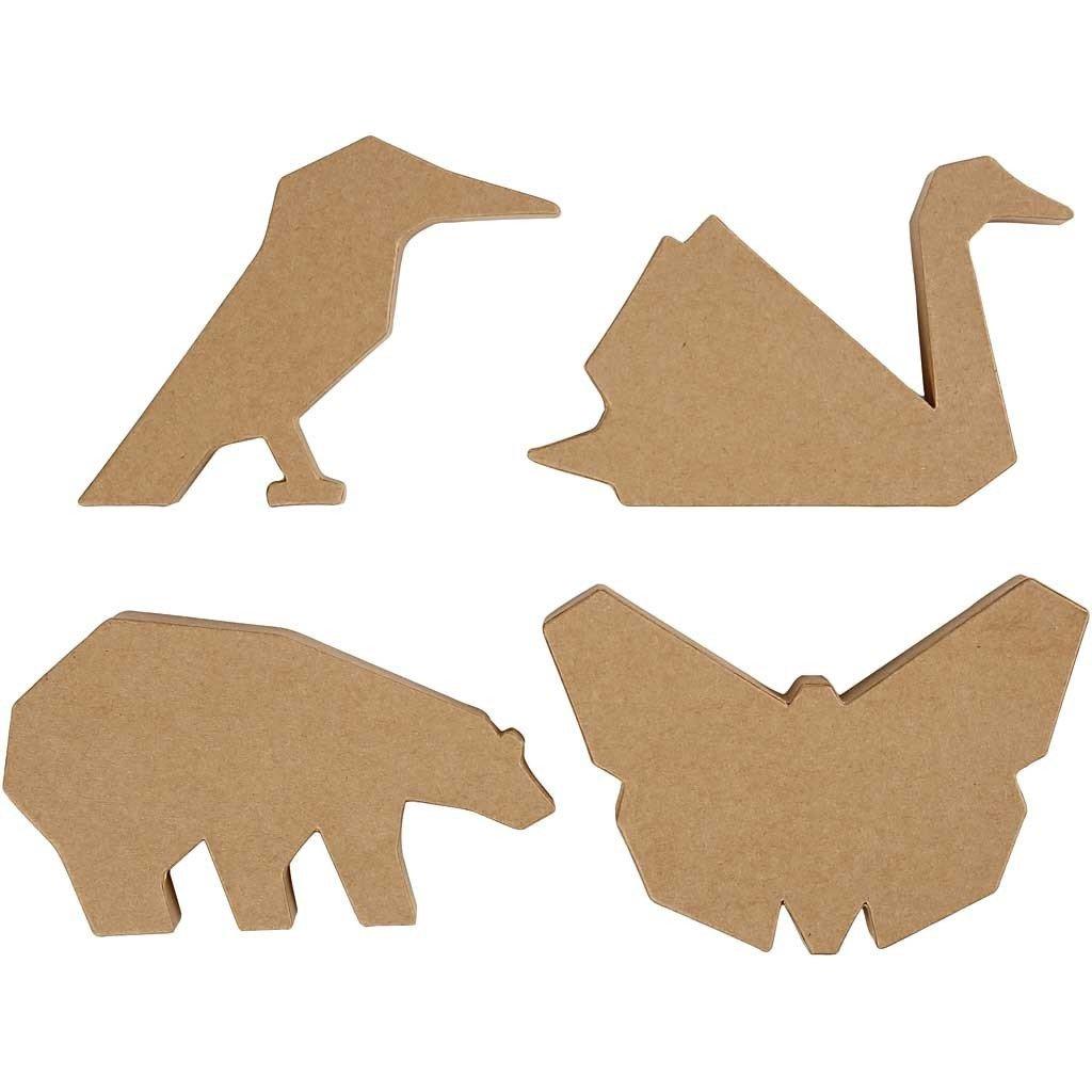 NEU Pappmaché Tiere H:10,5-12,5 cm, 25 mm, 24 st.