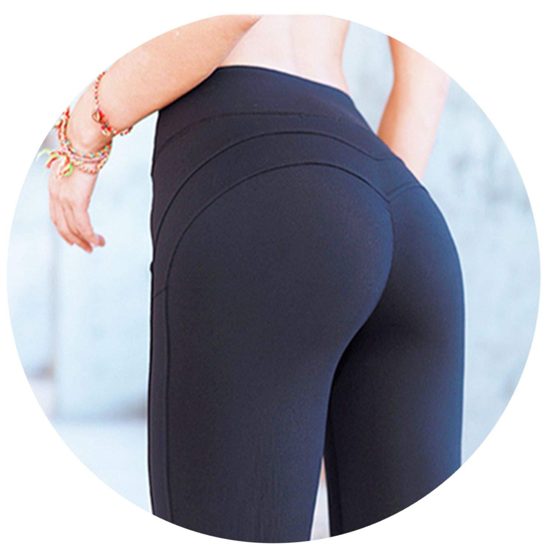 Black Sports Legging Women's Compression Thigts M Line Butt Lift Workout Leggings Push