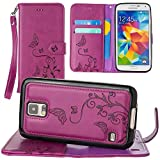 CellularOutfitter Samsung Galaxy S5 Wallet Case - Embossed Butterfly Design w/ Matching Detachable Case and Wristlet - Magenta