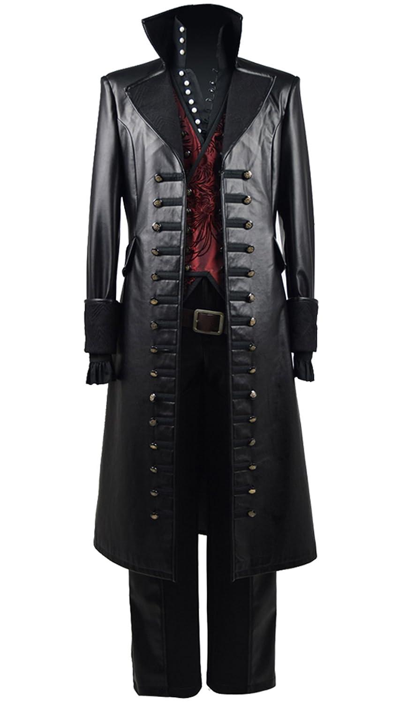 YeWeißMärchen TV-Serie Piratenkapitän Kostüm Herren Halloween Weste Mantel Outfit Schwarzund Rot 3XL