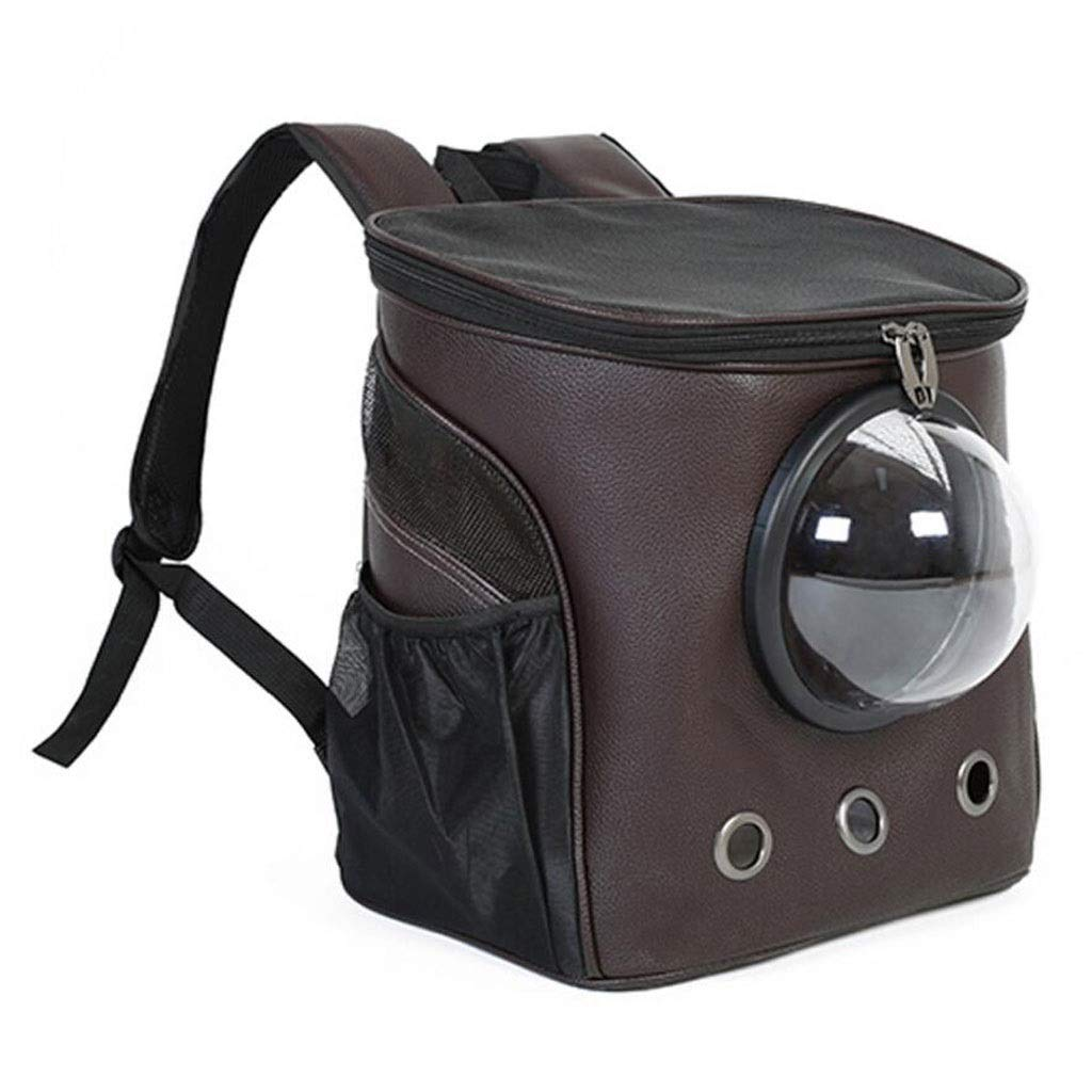 Brown FJH Breathable Pet Box Artificial Leather Cage Large Backpack Shoulder Carrying Cat And Dog Portable Travel Transport Car Out Shipping 2 color 38  26  34cm (color   Brown)