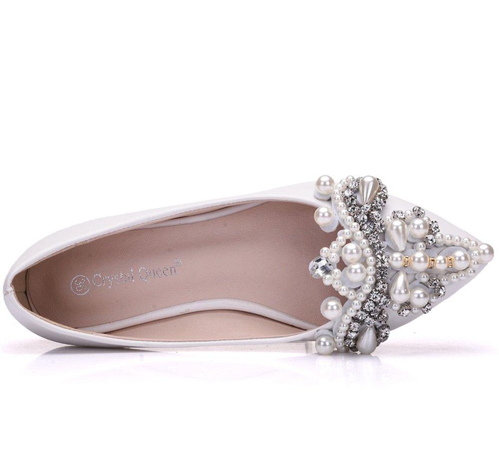 Damen Braut Schuhe Zum Braut Frau Frau Frau Weiß Schlüpfen Hochzeit Diamant Perle Funkeln Faulenzer Niedrig Absätze Damen Ballett Wohnungen Pumps Größe 35-42 2cf8d5