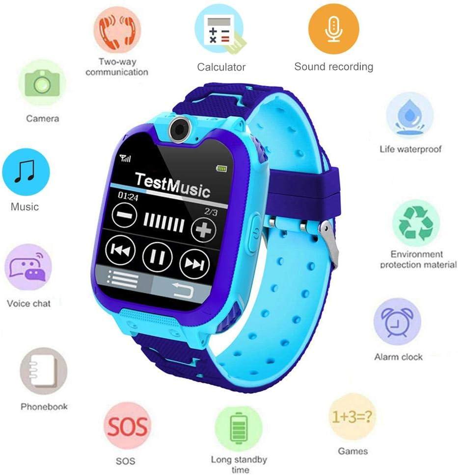 Umiwe Niños Musica Smartwatch, Impermeable Reloj Inteligente Pantalla Táctil con Llamada Socorro Chat Voz Cámara Despertador Juegos Flash Reloj de Pulsera Digital Regalos para Niño Chicas