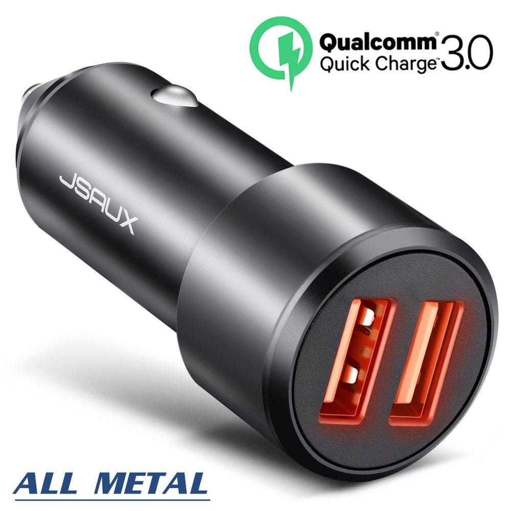 Car Charger, JSAUX Quick Charge 3.0 3A Dual USB Ports 36W Fast Car Charger Adapter Aluminum Metal Compatible Samsung Galaxy S9 S8 Plus Note 9 8 S7, iPhone X 8 7 6S 6, iPad, LG G7 V30 G5 G6 V20, Moto
