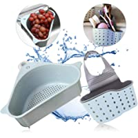 Sink Strainers Basket - Kitchen No Drilling Triangular Multifunctional Drain Shelf Storage Holder with Suction Cup for Support Corner Rack (Blue)