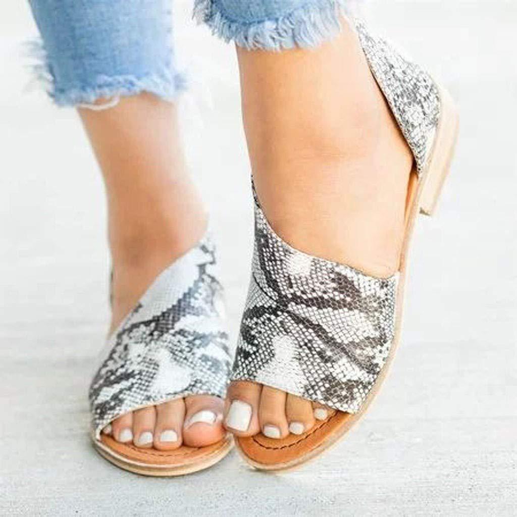 Womens Leopard Sandal Open Toe Asymmetrical Flats DOrsay Low Heel Summer Casual Shoes
