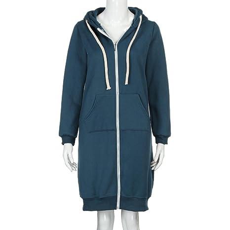 1233aacab97f1 Reaso Femme Manteaux à Capuche Longue Sweatshirt Mode Gilet Hiver Hoodie  Veste Jacket Casual Outwear Manches Longues Zipper Loose Coat  Amazon.fr   Vêtements ...