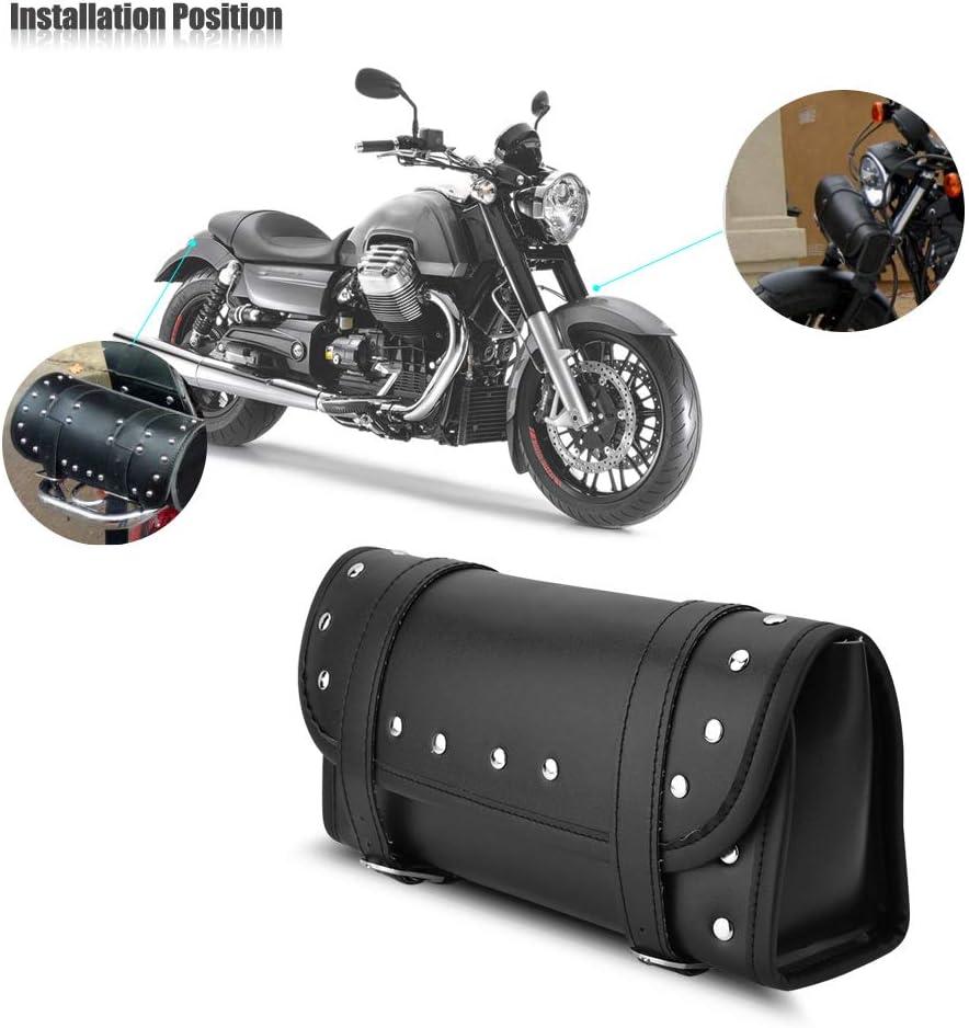 Akozon Black PU Leather Motorbike Front Rear Fork Tool Bag Handlebar Bags Luggage Saddlebag Motorcycle Tool Bag