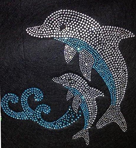Dolphin Rhinestone Iron On Heat Press Crystal MOTIF Fish Sea Water