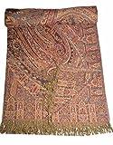 Blanket Throw Reversible Pashmina Bedspreads Queen Size Indian SL853