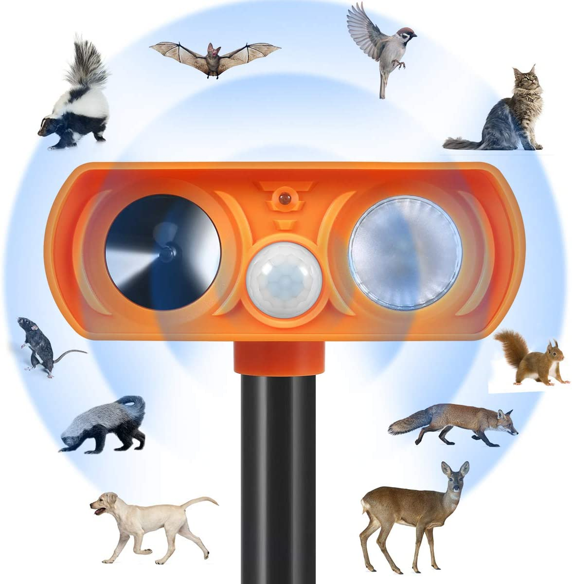 Zomma Dog Repellent, Ultrasonic Animal Repellent with Motion Sensor and Flashing Lights Outdoor Solar Powered Waterproof Farm Garden Yard Repellent, Cats, Dogs, Foxes, Birds,Rod,Chipmunk,Deer