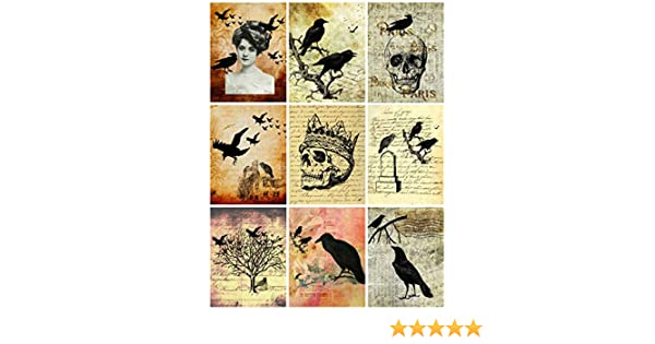 Halloween Dictionary Pages Collage Sheet Scrapbooking Altered Art 8.5 x 11 Halloween ATC