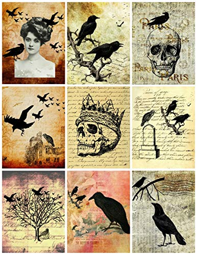 Halloween Spooky Photos Collage Sheet, Halloween, Scrapbooking, ATC, Altered Art 8.5 x 11