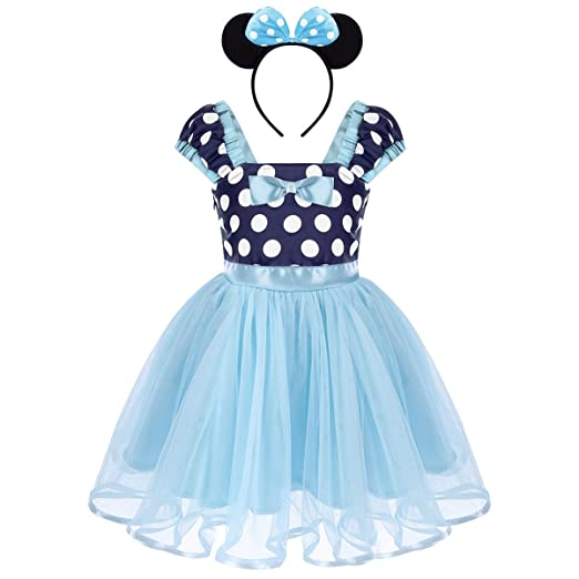 b95f67327 Amazon.com: Girls Polka Dots Princess Dress up Costume with Ears Headband  for Kids Baby Christmas Birthday Outfit Cosplay 1-5 Years: Clothing