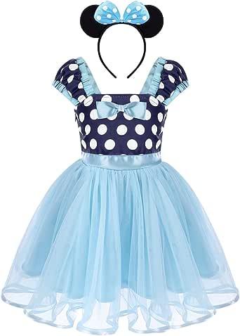 OBEEII Minnie Costume Baby Girl Tutu Dress Mouse Ear Headband Polka Dot First Birthday Halloween Fancy Dress Up Princess Outfits