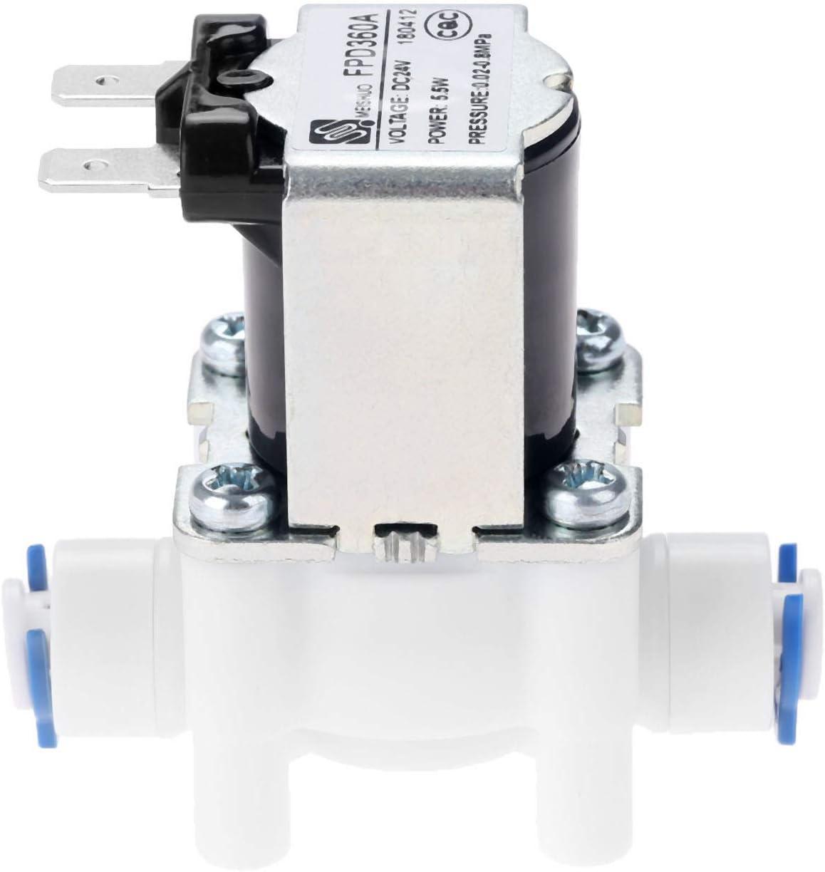 Válvula de agua eléctrica AC 24 V DC válvula de solenoide conexión de manguera de 1/4