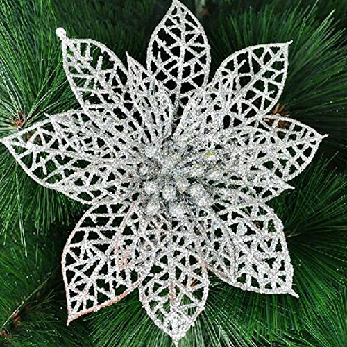 Ninko 10 Pcs 15 cm Artificial Hollow Poinsettia Silver Flower With Shining Edge For Christmas Tree Wreath House Decoration Flower With Shining Edge