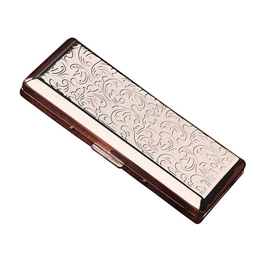 HEMFV Cigarette Case Creative Thin Portable Stainless Steel Pocket Carrying Cigarette Box Case for Holds 10 Regular Size Cigarettes (Color : Silver)