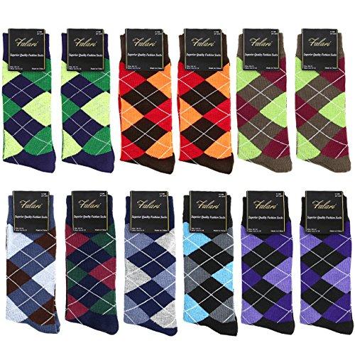 Falari Men Cotton Dress Socks Size 10-13 (12-pack Diamond Shaped) 901-A12