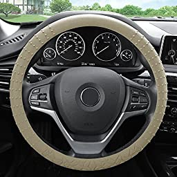 FH Group FH3002BEIGE Beige Steering Wheel Cover (Silicone W. Nibs & Pattern Massaging grip Wheel Cover Color -Fit Most Car Truck Suv or Van)
