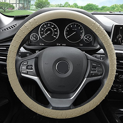 (FH Group FH3002BEIGE Beige Steering Wheel Cover (Silicone W. Nibs & Pattern Massaging grip Wheel Cover Color -Fit Most Car Truck Suv or Van))