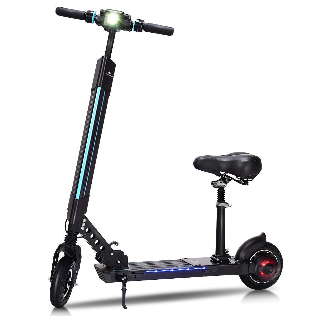 Goplus Foldable Electric Scooter, Adjustable Kick Scooter, Speed Up to 15.5MPH - 12.5 Mile Range of Riding w/ 5.2Ah 36V Lithium Battery, Suitable for Riders Under 220lbs