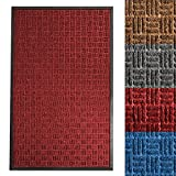 casa pura Entrance Mat | Embossed Front Door Mat | Indoor and Outdoor Entry Rug | Red | 36'' x 60''