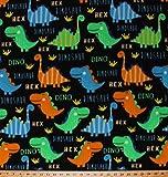 Fleece Dinosaurs T-Rex Jurassic Animals Reptiles Blue Green Orange Dinosaurs on Black Bright Dinos Kids Children's Boys Fleece Fabric Print by the Yard (o47640-1b)