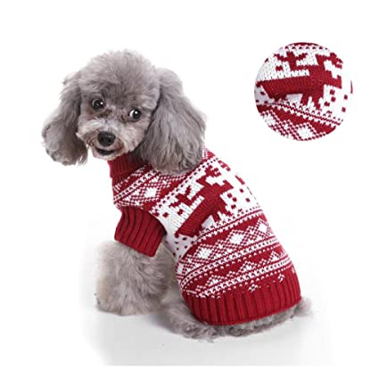 Amazoncom Classic Dog Sweater Christmas Reindeer Themed Costume