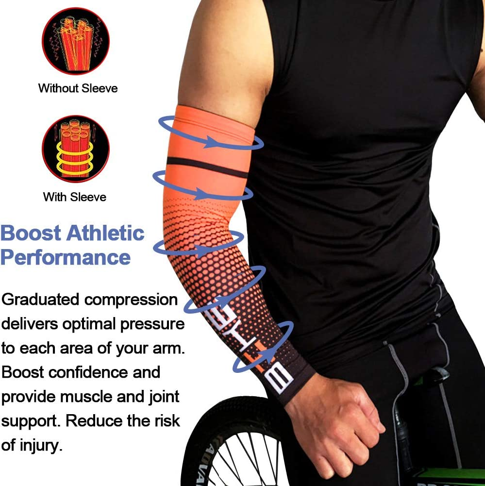 Cycling Lymphedema UV Protective Cooling Sports Sleeves for Arthritis Basketball Outdoor Activities beister 1 Pair Compression Athlete Arm Sleeves for Women and Men Football