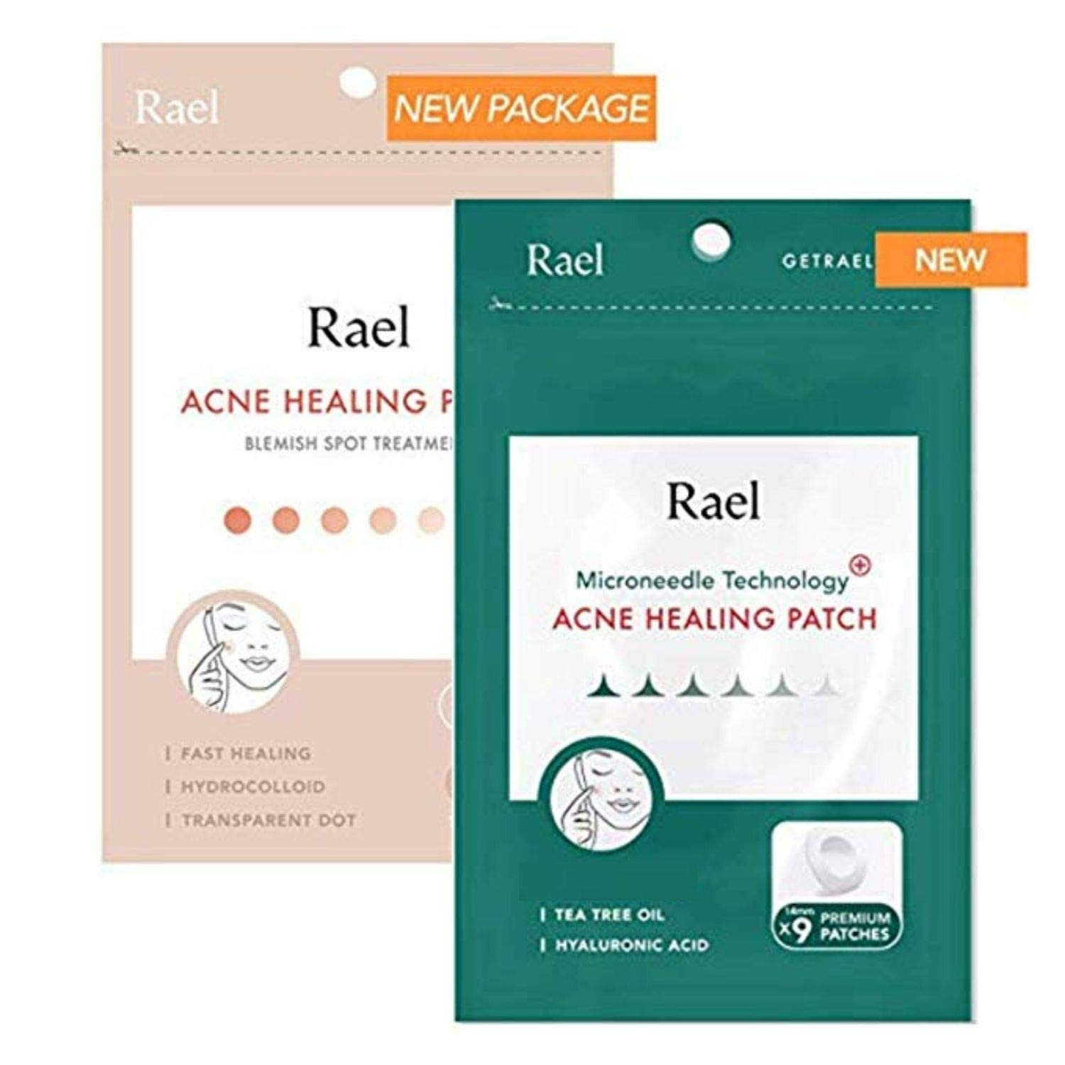 Rael Acne Pimple Healing Patch - Microneedle Acne Spot, Absorbing Cover, Invisible, Blemish Spot, Hydrocolloid, Skin Treatment, Facial Stickers, Two Sizes, Blends in with skin (33 Patches, 2Pack)