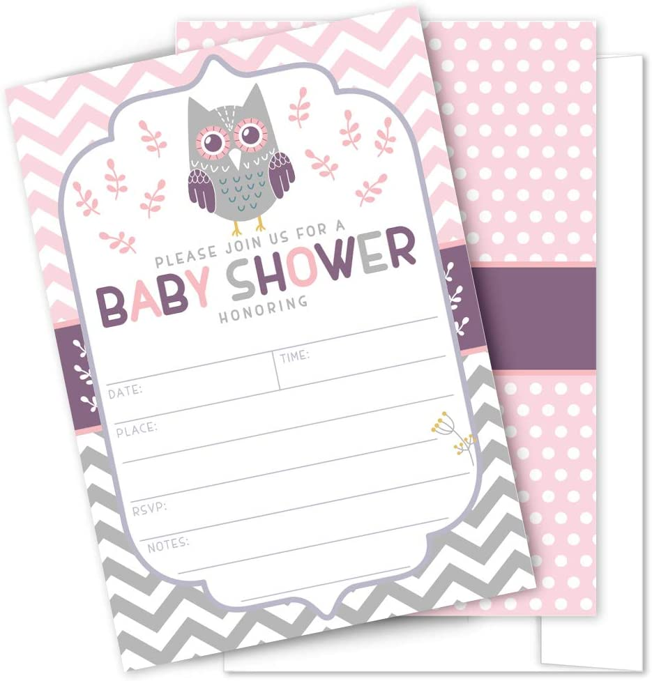 Pink Owl Baby Shower Invitations – 25 High Quality Owl Theme Invitations with Envelopes for Girl Baby Shower by Partygraphix