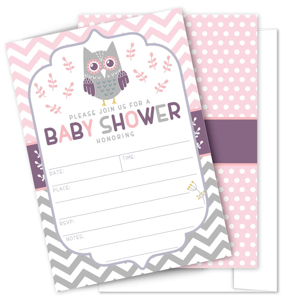 Amazon.com: Pink Owl Baby Shower Invitations - 25 High Quality Owl Theme  Invitations with Envelopes for Girl Baby Shower by Partygraphix: Health &  Personal ...