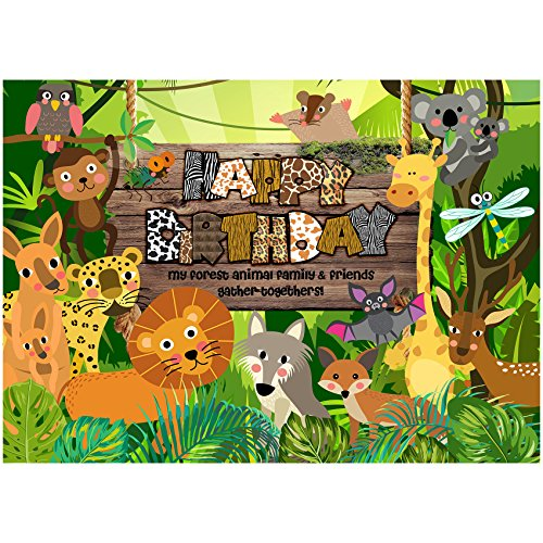 musykrafties My Forest Animal Family Friends Gather Togethers Large Banner Children Birthday Party Backdrop Decoration Dessert Table Background 7x5 Feet]()