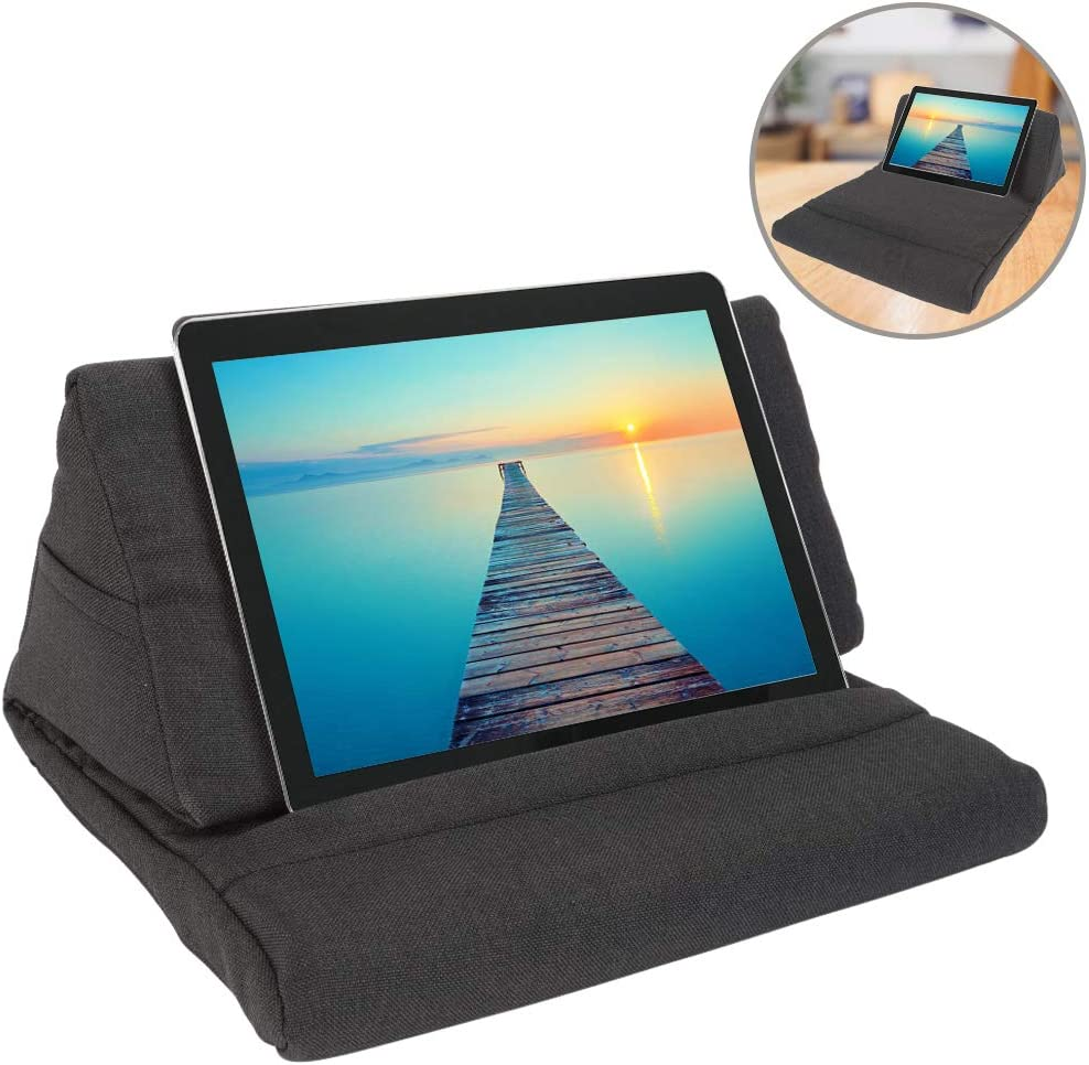 ZGWJ Pillow Stand Tablet Pillow Holder Soft Pillow Lap Stand for Tablet, eReaders, Mobile Phone, Magazines, Books (Black)